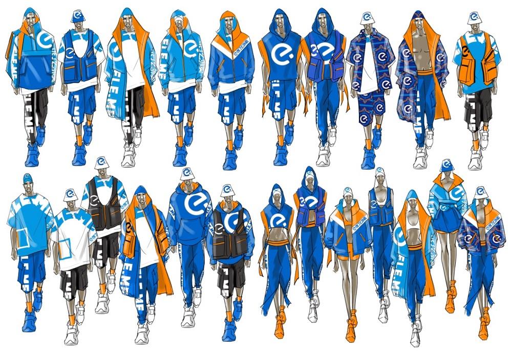 餓了麼藍騎士潮服的手繪稿。