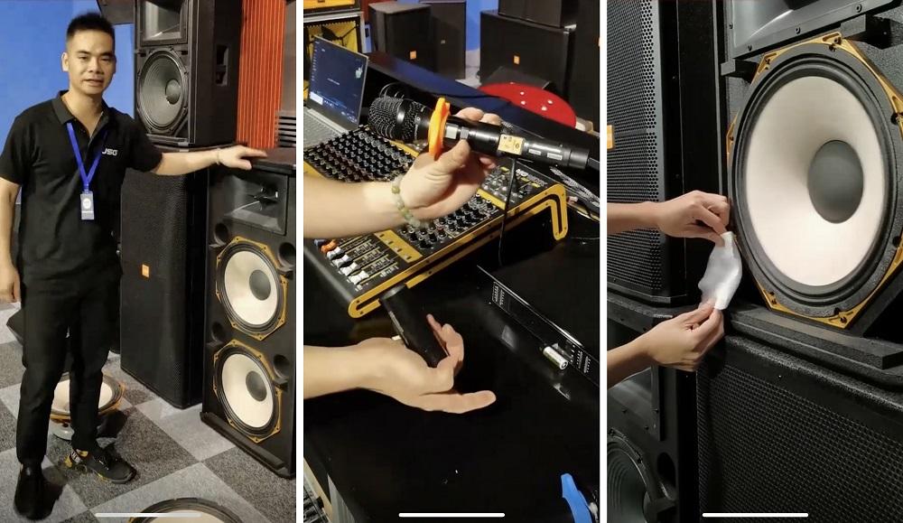 電聲器材行業紛紛入駐淘寶直播,向觀眾示範喇叭、麥克風等器材的質素。