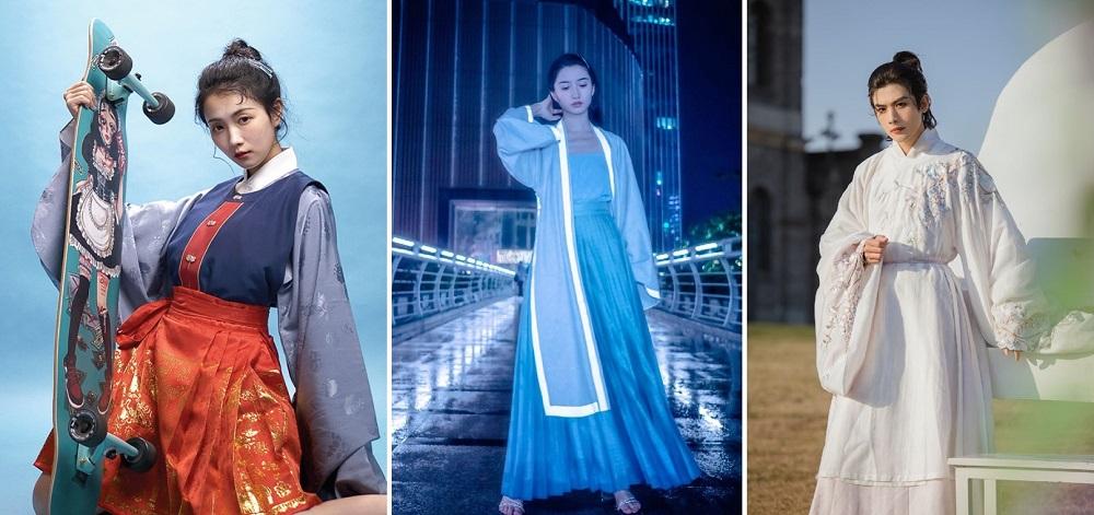 淘寶造物者將運動(圖左)、夜店概念(圖中)及婚宴概念(圖右)融入漢服設計之中。